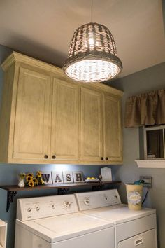 Rustic Woven Bamboo Pendant Lighting For Small Laundry Room With Natural Brown Wooden Wall Cabinets Above Wooden Shelves Using Black Iron Panel With Laundry