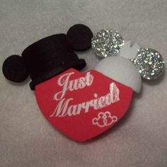 Your WDW Store - Disney Antenna Topper - Mickey Mouse Ears Wedding Hats Just Married