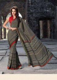 Casual Wear  Crepe Grey Printed Saree