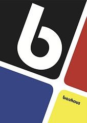 Primary colours witht he supporting black and white adpect which is very familiar with Bauhaus design.   I like the compostion with the greatest dominance within the 'b' which would be specifically designed.