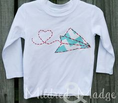 Hand Stitched Appliqued Paper Airplane Heart Valentine's Shirt. $22.00, via Etsy.