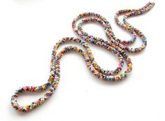 Colorful Long Crochet Rope Necklace Beaded by DolgovaSvetlana