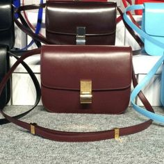 Free Shipping !Cheap 2015 Celine Bags Outlet-Celine Classic Bag in Burgundy Smooth Calfskin Leather