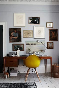 Mid Century modern inspired home office workspace