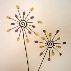 žluto fialové sluníčko Plant Crafts, Wire Crafts, Bead Crafts, Diy And Crafts, Arts And Crafts, Barbed Wire Art, Copper Wire Art, Wire Tutorials, Beading Tutorials