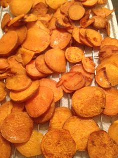 sweet potato chips - the ones I did on my Pampered Chef stone turned out good but the batch I did on a regular cookie sheet burnt, and I mean burnt!! Watch your time. I would put less cayene in next time.