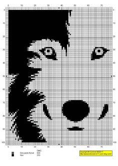 Wolf face cross stitch