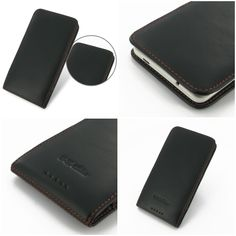 PDair Leather Case for HTC One Max 803s - Vertical Pouch Type (BlackOrange Stitch)