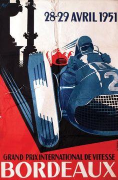 Grand Prix International de Vitesse - Bordeaux - 1951 - illustration de Roy -