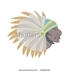 Native American Indian chief with feather headdress. Vector illustration.