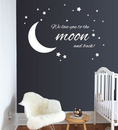 Moon & Stars Nursery Wall Decals - Removable Wall Decor Stickers for Boys or Girls Kids Room Star Themed Nursery, Star Nursery, Nursery Themes, Wall Decor Stickers, Nursery Wall Decals, Baby Room Neutral, Nursery Paintings, Baby Boy Rooms, Nursery Inspiration