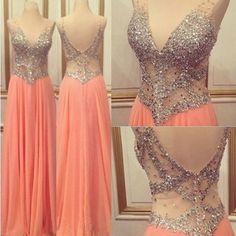V-Neck Sexy Prom Dresses,Pink Long Chiffon Prom Dresses,Evening Dresses #simibridal