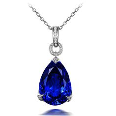 Stunning 15.29ct Natural Blue Tanzanite in 18K Gold Pendant by CHARMES Jewellery