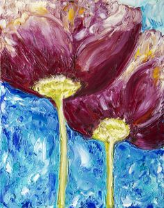 "ORIGINAL CANVAS - ""2 Poppies"" in OIL 