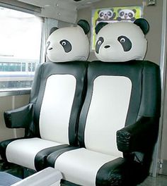 JR (Japan Railways) had some panda seats on one of their trains a while back.  Fun!