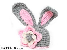 Crochet Bunny Hat With Flower PDF Crochet Pattern