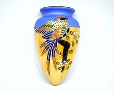Japanese Porcelain Blue and Gold Luster Bird Wall by ogdenlane, $49.50