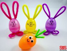 Our favorite DIY Easter crafts for kids - make bunnies out of plastic eggs, pom poms, paper plates, and more! #eastercraftsforkids