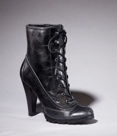 EXPRESS: Lace-Up Heeled Booties [Black] $88.00