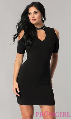 Customized Feminine Black Cold-Shoulder Black Party Dress With Short Sleeves Cute Short Dresses, Black Party Dresses, Sexy Dresses, Fashion Dresses, Prom Dresses, Dress Black, Dress Prom, Women's Fashion, Perfect Little Black Dress
