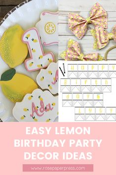 The best ideas for hosting a modern and fun Lemon birthday - invitations, cookies, decorations, bows and outfits, food, milestone posters, birthday banners and balloons, and thank you cards. Kids Birthday Themes, Birthday Banners, Birthday Invitations Kids, 2nd Birthday Parties, Birthday Party Decorations, Boy Birthday, 1st Birthdays, Holiday Cards, Balloons