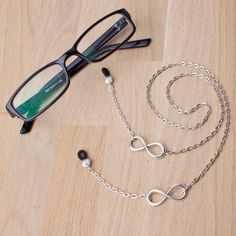Your place to buy and sell all things handmade Safety Pin Jewelry, Charms, Eyeglass Holder, Infinity Symbol, Eyeglasses, Handmade Jewelry, Silver, Cellular Accessories, Ladies Accessories
