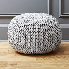 Accent round layers on sweater vibes in chunky hand-knit silvery grey. Dense pellet fill is substantial for seat/ottoman duty. knitted silver grey pouf is a exclusive.Pouf by desk, maybe a backpack sitting on itModern Poufs and Floor Pouf SeatingTeal Acc Modern Ottoman, Round Ottoman, Ottoman Ideas, Large Ottoman, Floor Pouf, Floor Cushions, Puff Gigante, Living Room Designs, Knitting