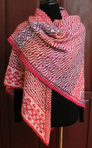 Pink Mosaica - A Shawl.Pink Mosaica is a shawl worked with one color per row, using the slip stitch (or mosaic) technique. The shawl is begun in one corner with 5 stitches. The three borders (top, and lower# Mosaica Knitted Poncho, Knitted Shawls, Crochet Scarves, Crochet Shawl, Free Crochet, Knit Crochet, Shawl Patterns, Knitting Patterns Free, Free Knitting