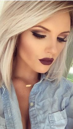 Don't like the dark lips Wedding Hair And Makeup, Wedding Beauty, Bridal Makeup, Weeding Makeup, Pretty Makeup, Makeup Looks, Kiss Makeup, Plum Lipstick Makeup, Blonde Hair Red Lipstick