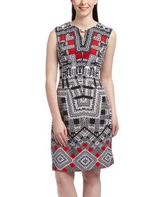 Red Arabesque Notch Neck Dress | zulily