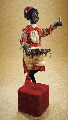 View Catalog Item - Theriault's Antique Doll Auctions French Automaton with Very Rare Black Bisque Character Face by Lambert