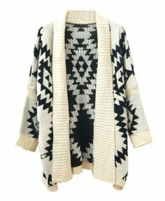 Open Front Geometric Cardigan with Long Lapel