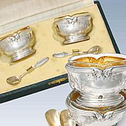 Boxed French Sterling Silver Salt Cellars & Spoons Set
