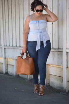 Bustier Top, Skinny Jeans, Tote Bag