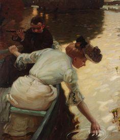 Calm Day, 1902 by Leo Putz (German 1869- 1940) @@@.....https://es.pinterest.com/essientes/travel-transport-in-art/