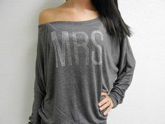 MRS. Off Shoulder Shirt. Black MRS OffShoulder by BrideBikini Awesome Idea for day after wedding or flight for Honeymoon!