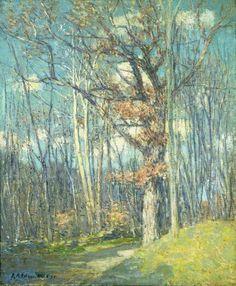 """White Oaks,"" J. Alden Weir, 1913, oil on canvas, 30 x 25 1/4"", Akron Art Museum."