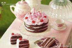 Whole Cherry Chocolate Pink Birthday Cake
