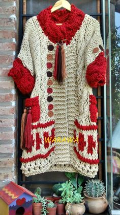 This Pin was discovered by ays Crochet Coat, Crochet Jacket, Crochet Cardigan, Love Crochet, Crochet Skirts, Crochet Clothes, Knitting Patterns, Crochet Patterns, Creative Knitting
