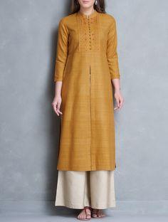 Buy Mustard Mandarin Collar Thread Embroidered Matka Silk Kurta Women Kurtas Online at Jaypore.com