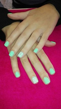 Natural acrylic overlays With gellish overlay. #mint green #fun # bling