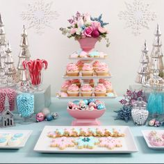 "Glory of Glorious Treats sent in these beautiful shots of the creative ""Vintage Pastel Christmas Dessert Table"" that she put together for a holiday party this year. Inspired by the lovely vintage pink pottery that's incorporated into Noel Christmas, Pink Christmas, Christmas Desserts, Vintage Christmas, Christmas Decorations, Christmas Colors, Christmas Cupcakes, Christmas Wedding, Winter Cupcakes"