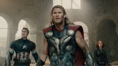 Captain America, Thor, and Black Widow in Age of Ultron