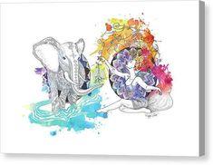 Elephant Dancer Mandala - Reproductions - Acrylic / 8 x 8 / Hanging Wire