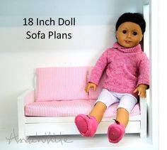 American Girl or Doll Sofa or Couch Plans (Ana White) Diy Ag Dolls, Diy Doll, American Girl House, American Girl Kitchen, Ag Doll House, Woodworking Projects That Sell, Woodworking Plans, Doll Furniture, Furniture Plans