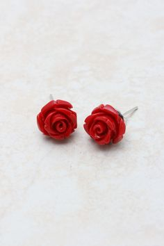 Red Rose Earrings on Emma Stine Limited