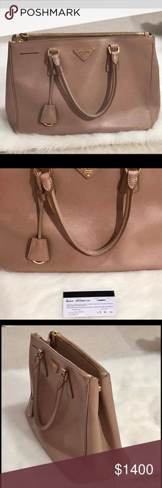 100% Authentic Prada Saffiano Medium double zip t It's still in a good condition, come with an authenticity card. Ask me any questions Prada Bags Totes