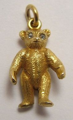 18ct 18k Gold & Diamond Teddy Bear Charm