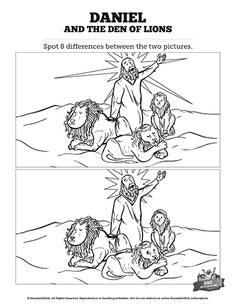 Daniel And The Lions Den Kids Spot The Difference: If you think these two Daniel and the lions den illustrations are exactly the same then you need to take a second look! Designed to bring some silly fun to your class, this Daniel and the lions den spot the difference activity is perfect for your upcoming Daniel 6 Sunday school lesson.