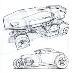 Vehicles Ballpoint Pen Design Sketches by Scott Robertson